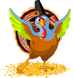 Of happy thanksgiving turkey vector