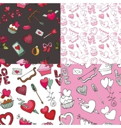 Valentine dayweddingloveseamless pattern set vector