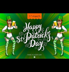 St patricks day beer girl vector