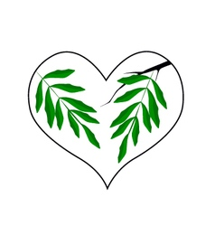 Branch of Green Leaves in A Heart Shape vector image