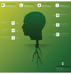 Head tree and root infographic design template vector