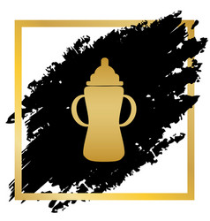 baby bottle sign golden icon at black vector image vector image