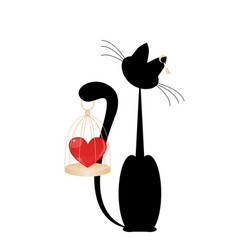 cat and heart vector image vector image