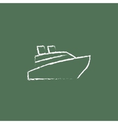 Cruise ship icon drawn in chalk vector image vector image