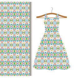 Dress fabric with green geometric mosaic vector