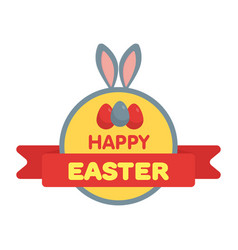 Easter eggs label flat style vector