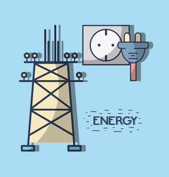 Energy tower and electronic cable power vector