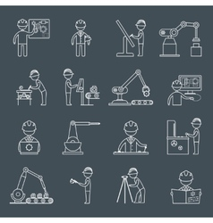 Engineering icons outline vector image