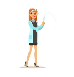 Female doctor with syringe wearing medical scrubs vector