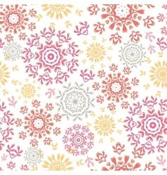 Folk floral circles abstract seamless pattern vector