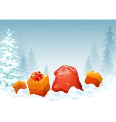 Gift box and bag on snow in winter forest vector image vector image