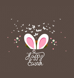 happy easter bunny ears vector image vector image