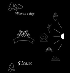 i love you womens doodle 6 icon in set of womens vector image vector image