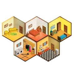 Isometric rooms icon vector