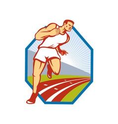 Marathon Runner Running Race Track Retro vector image vector image