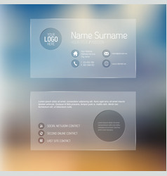 modern transparent business card template vector image vector image