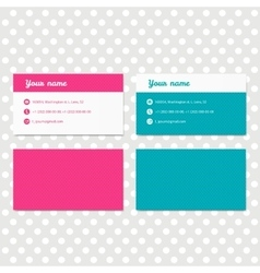 Pink and blue business card template design vector image vector image