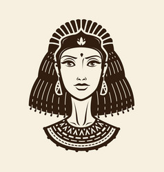 portrait of beautiful young woman girl in ethnic vector image vector image