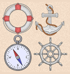 sea symbols lifebuoy anchor compass steering vector image