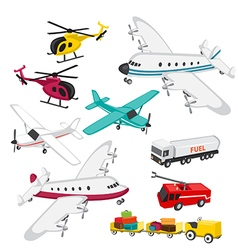 Set of airport elements vector image