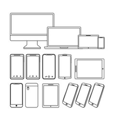 Set of gadgets technologies digital responsive vector