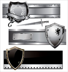 shield banner set vector image vector image