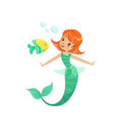 Smiling mermaid swimming underwater with little vector