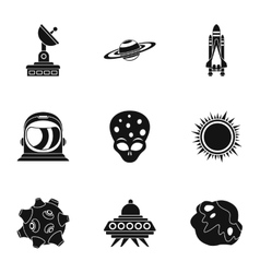 Space icons set simple style vector