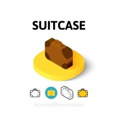 Suitcase icon in different style vector image