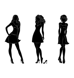Three beautiful slim women silhouettes vector