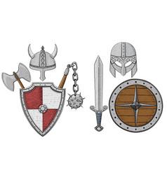 Viking armor set - helmets shields and sword axe vector