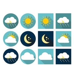 Weather Icons with Sun Cloud Rain and Moon in vector image vector image