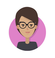 Woman face emotive icon in flat style vector