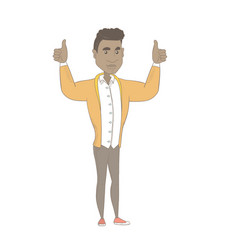 Young african man standing with raised arms up vector