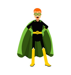 Young confident redhead man in classic superhero vector