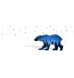 Christmas card with silhouette of bear vector image