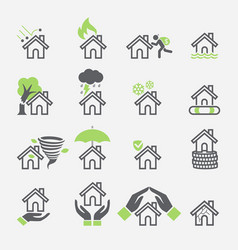 House insurance services icons vector