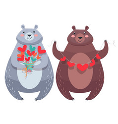 Valentine bears with necklace of hearts flowers vector