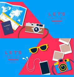 Summer background travel banner layou vector