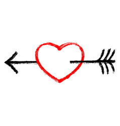 red heart with black arrow vector image