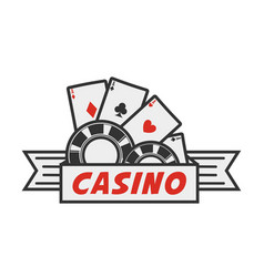 casino logo with cards and chips vector image