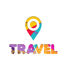 Summer vacation travel color cutout text quote vector