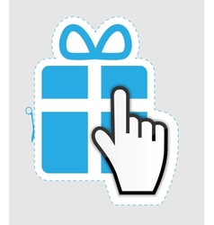 Mouse hand cursor on gift sticker label vector