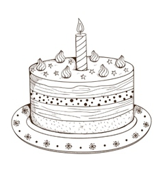 Holiday cake with candle vector