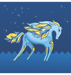 Blue night horse vector