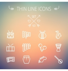 Music and entertainment thin line icon set vector