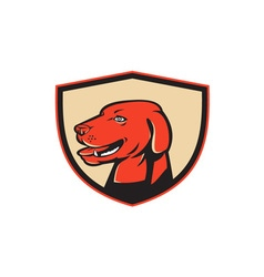 Labrador golden retriever dog head shield retro vector