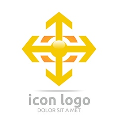 Logo icon arrow plus yellow design symbol abstract vector