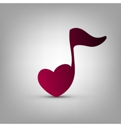 Heart shaped musical note vector