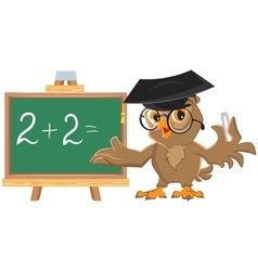 Owl teacher leads math lesson vector
